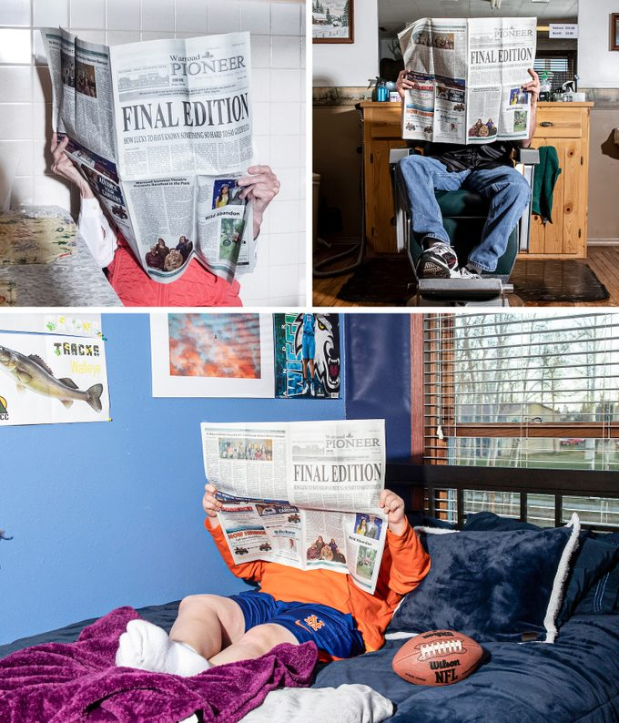 three scenes of readers reading the Final Edition