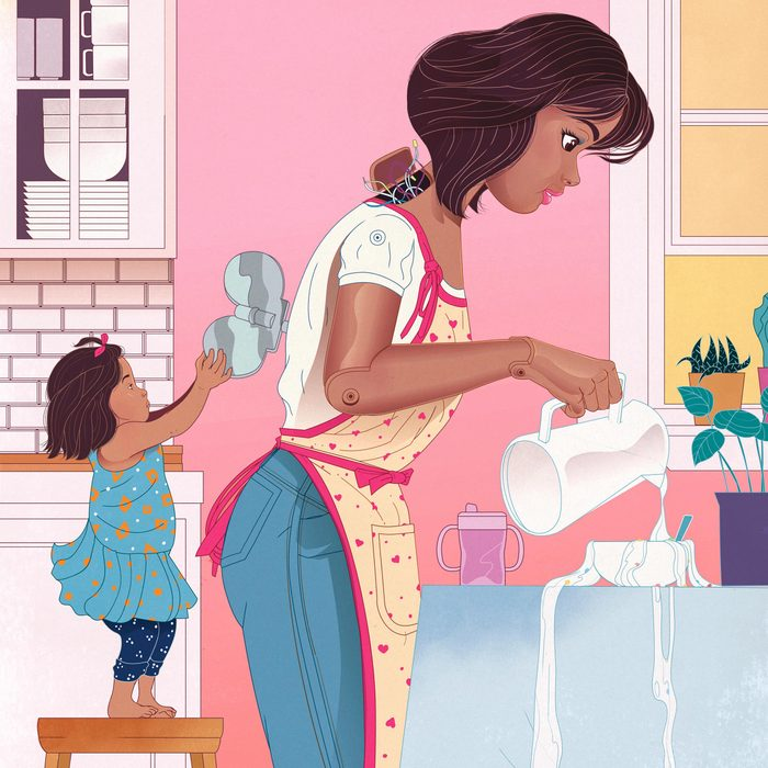 toddler using to wind up key on her mothers back; mother is pouring milk into an overflowing bowl