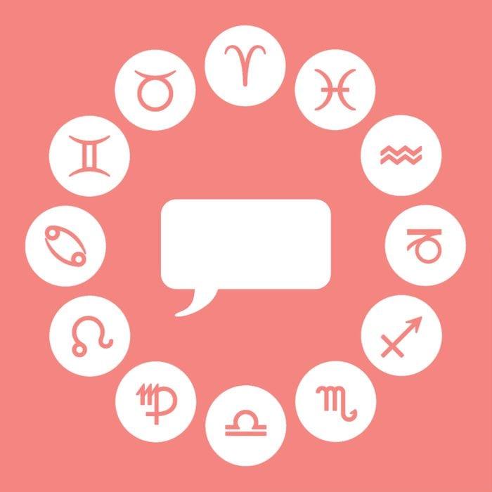 Circle of zodiac sign symbols surrounding a speech bubble