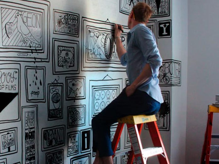 Timothy Goodman Working on a mural for Manhattan's Ace Hotel