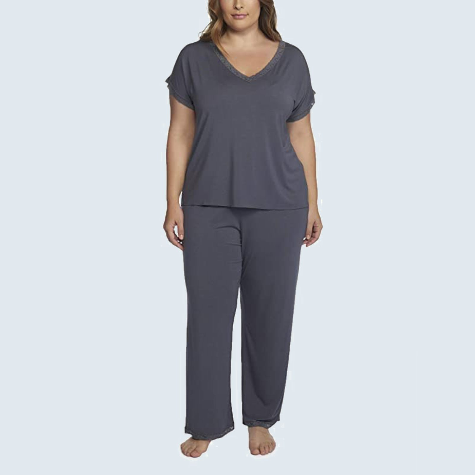 Luxe Milk Jersey V-Neck Tee and Classic Pant Set from Barefoot Dreams