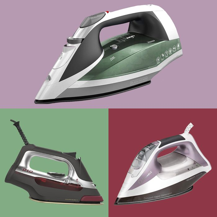 three steam irons on colored background