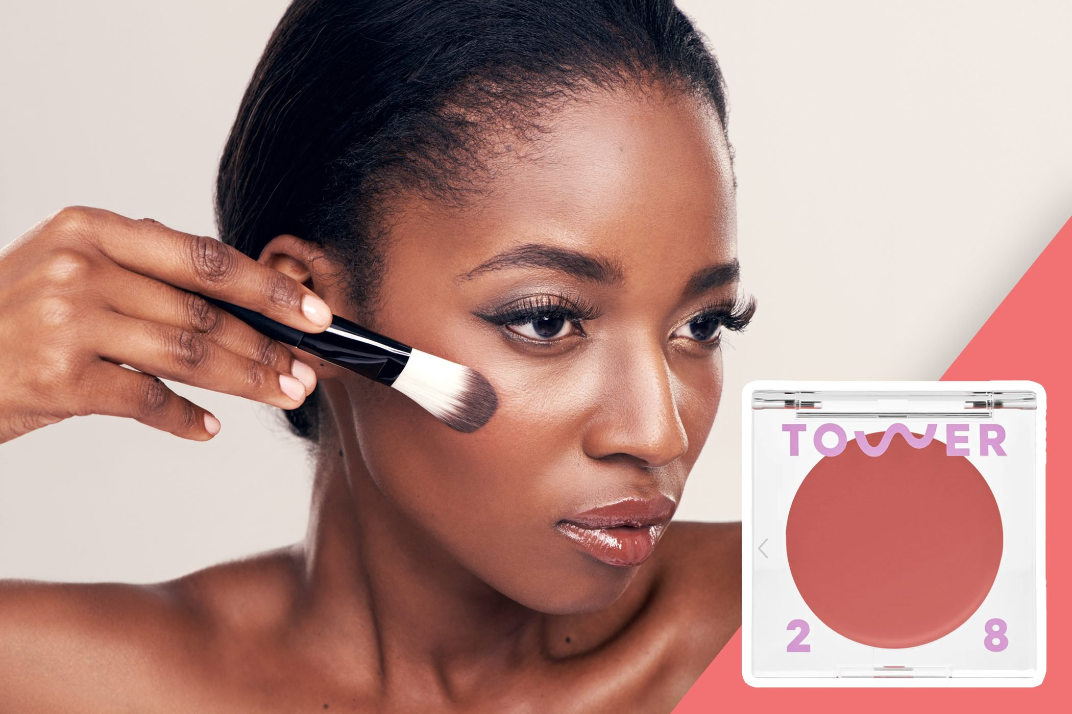 inset of blush on photo of woman applying liquid blush with brush