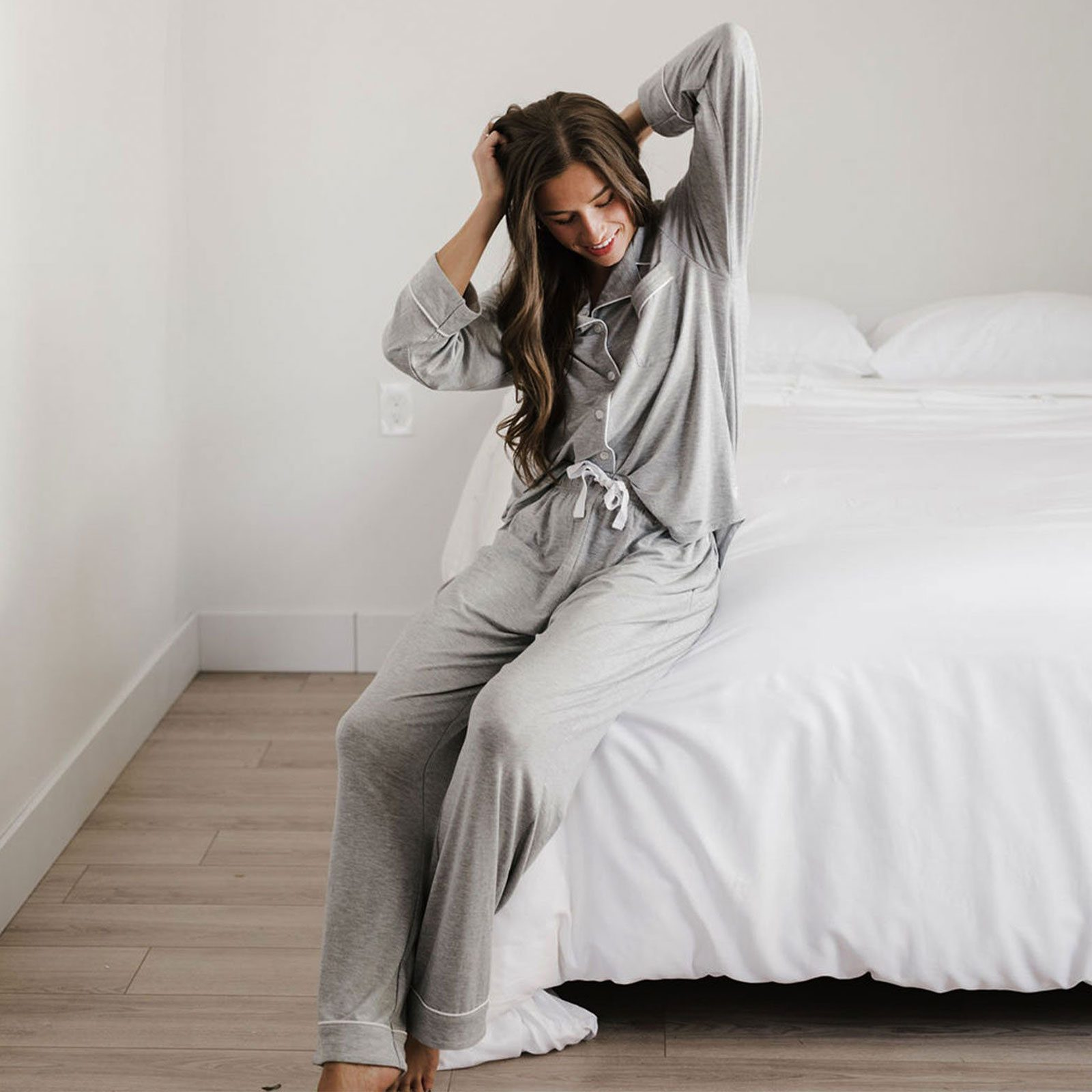 Long Sleeve Stretch-Knit Bamboo Pajama Set from Cozy Earth