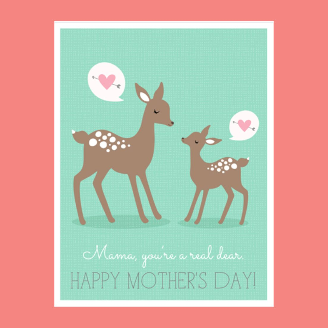 doe and fawn printable mothers day card