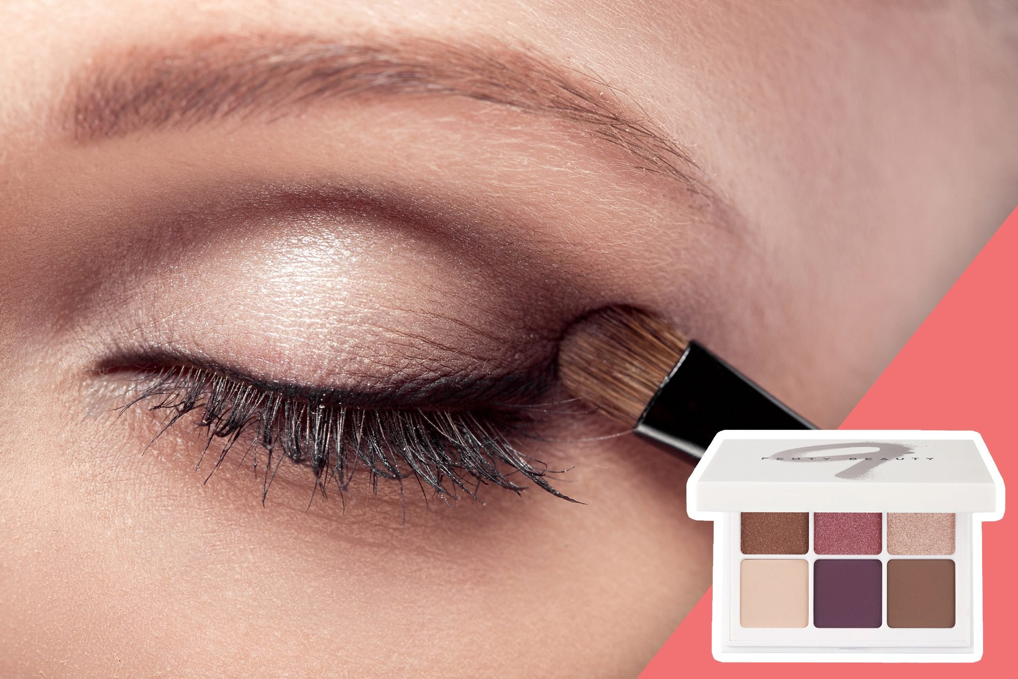 inset of eyeshadow pallet on photo of a woman shaping her eyeshadow