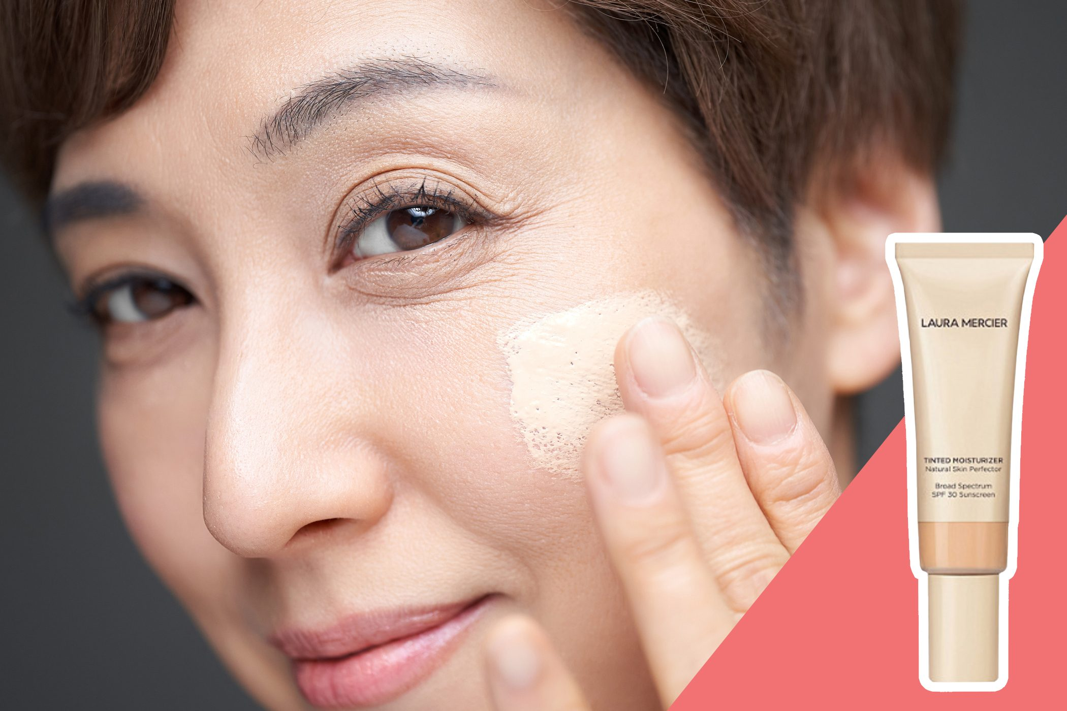 inset of tinted moisturizer on inset of woman applying makeup