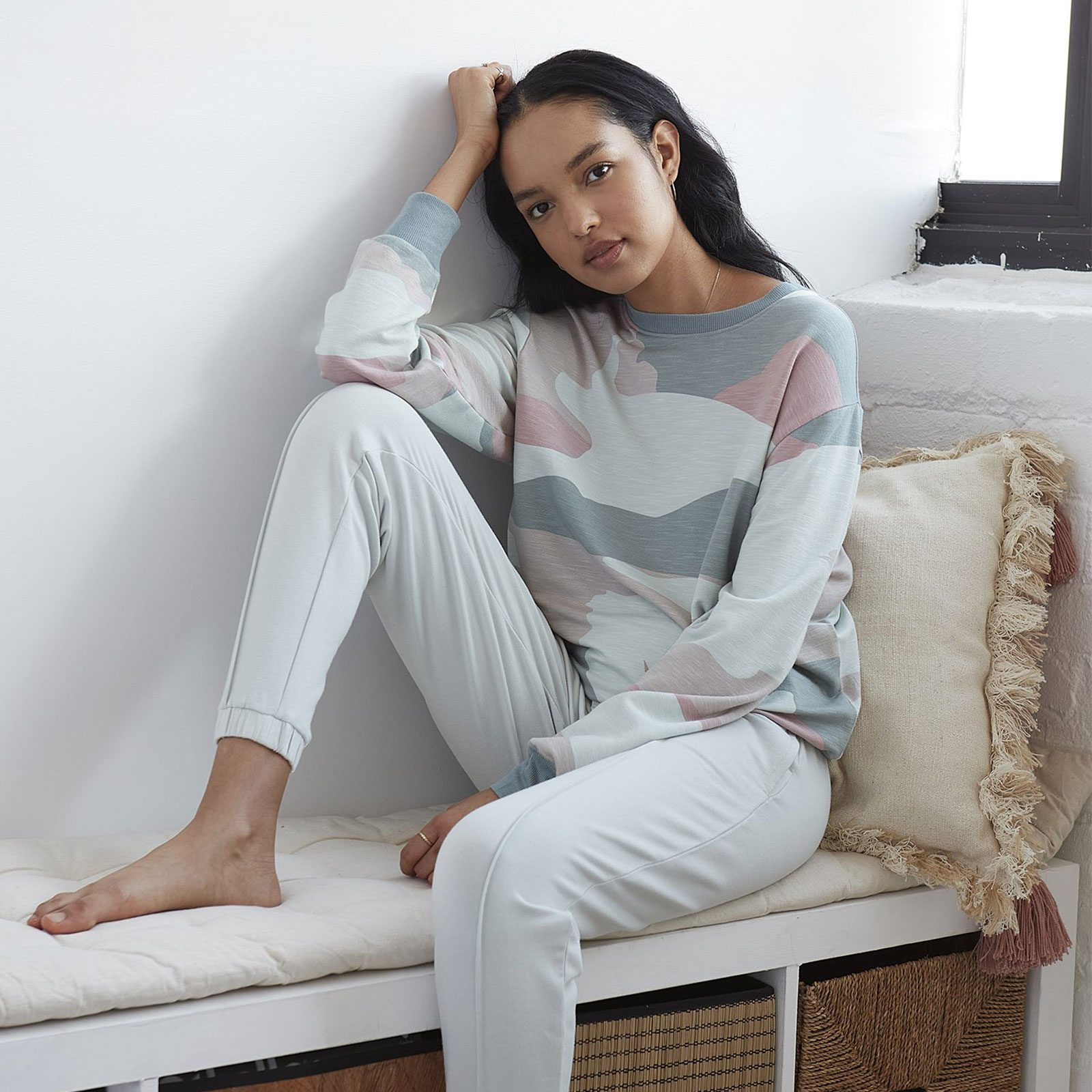 Best loungewear set for a bold fashion statement: Grey State Camo Loungewear Set