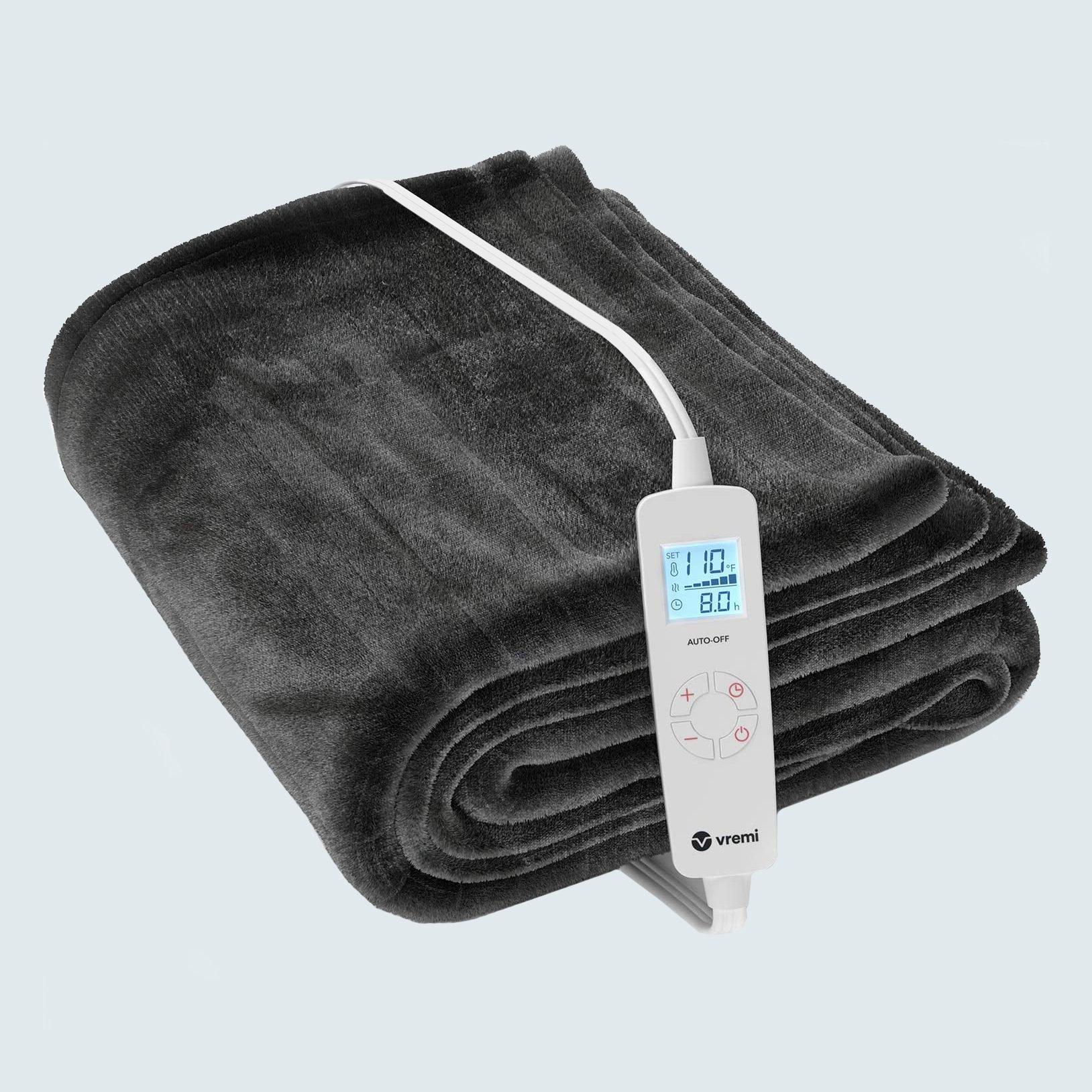 heated blanket on grey background