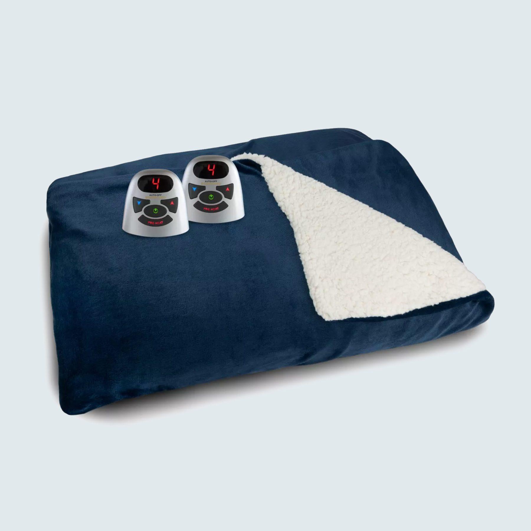 Biddeford Velour and Sherpa Electric Blanket