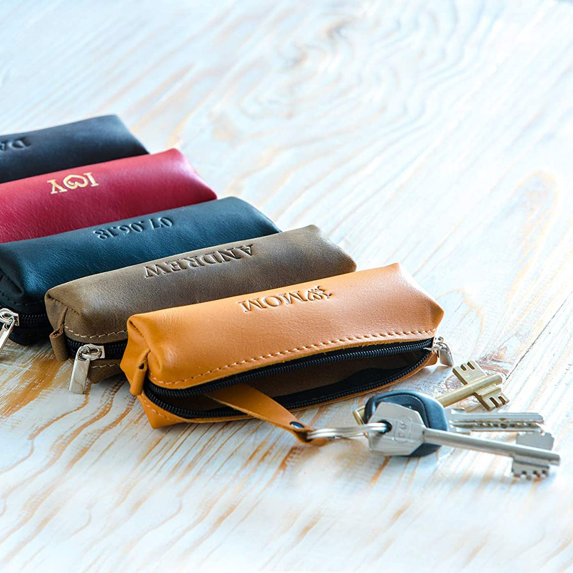 Leather key holder for father's day