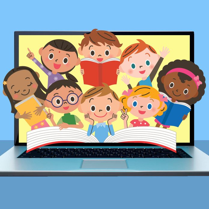 image of laptop with diverse kids reading popping out of the screen