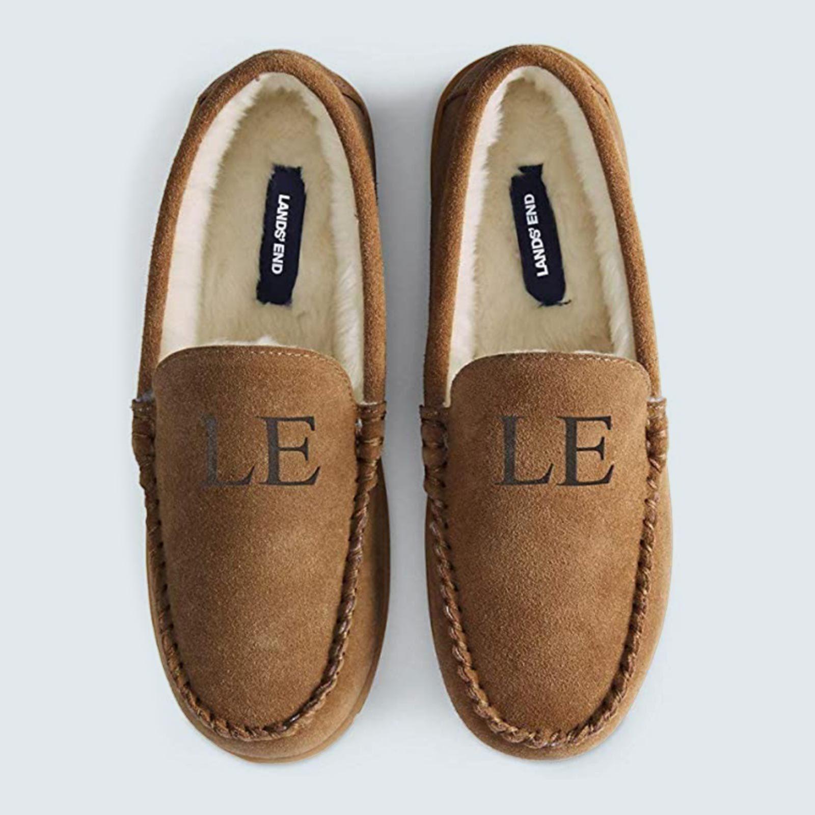 Best monogrammed slippers: Land's End Moccasin Slipper