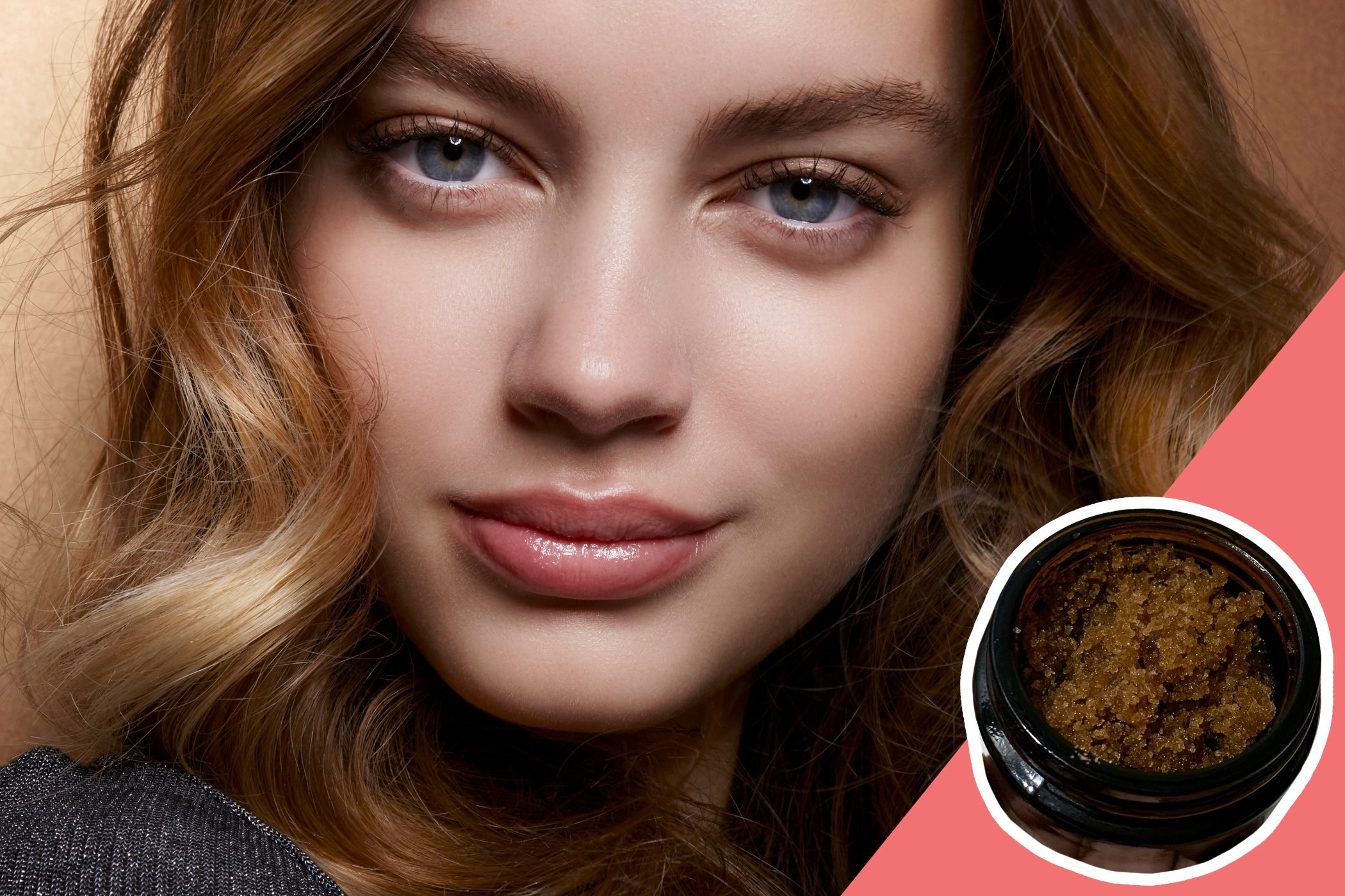 inset of Lip scrub on photo of woman with natural make up