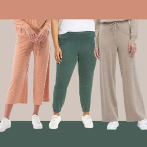 Three colorful pairs of loungewear or sweatpants