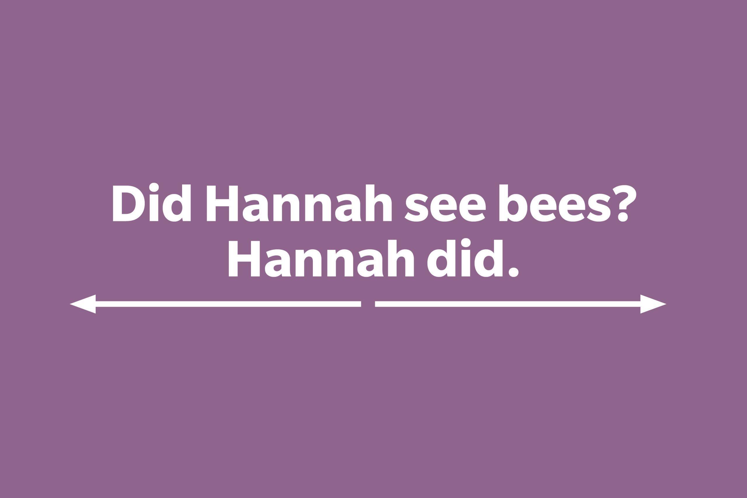 Did Hannah see bees? Hannah did.