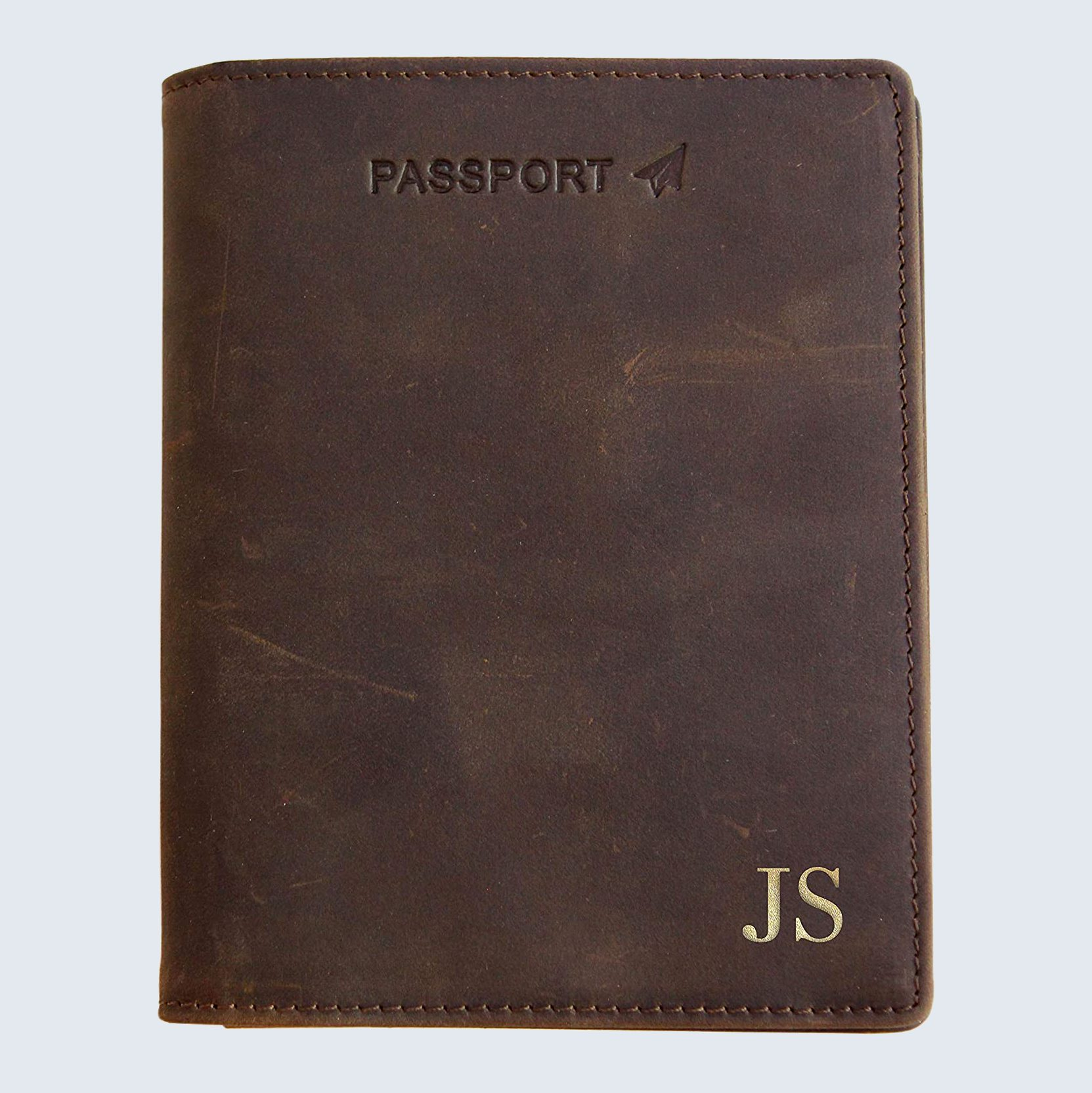 Monogrammed leather passport holder for Father's day