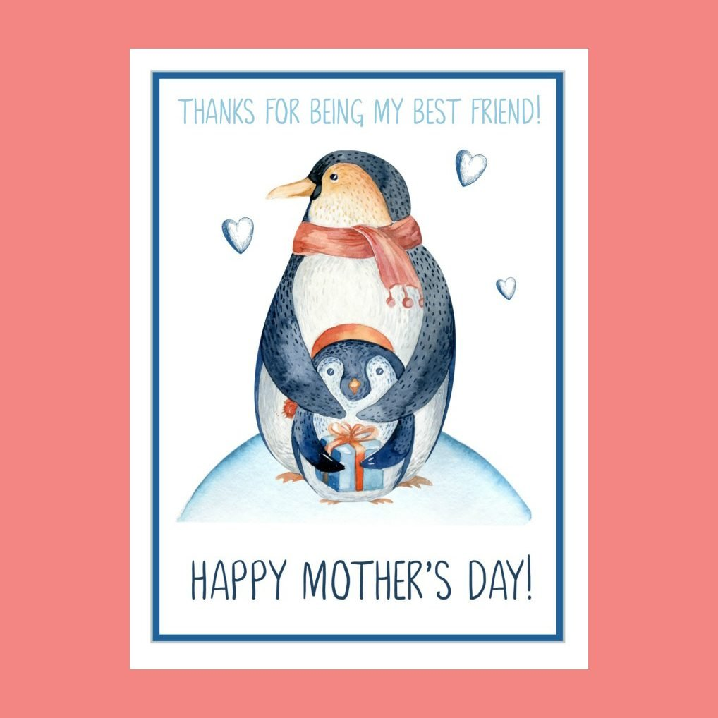 Penguin mothers day card