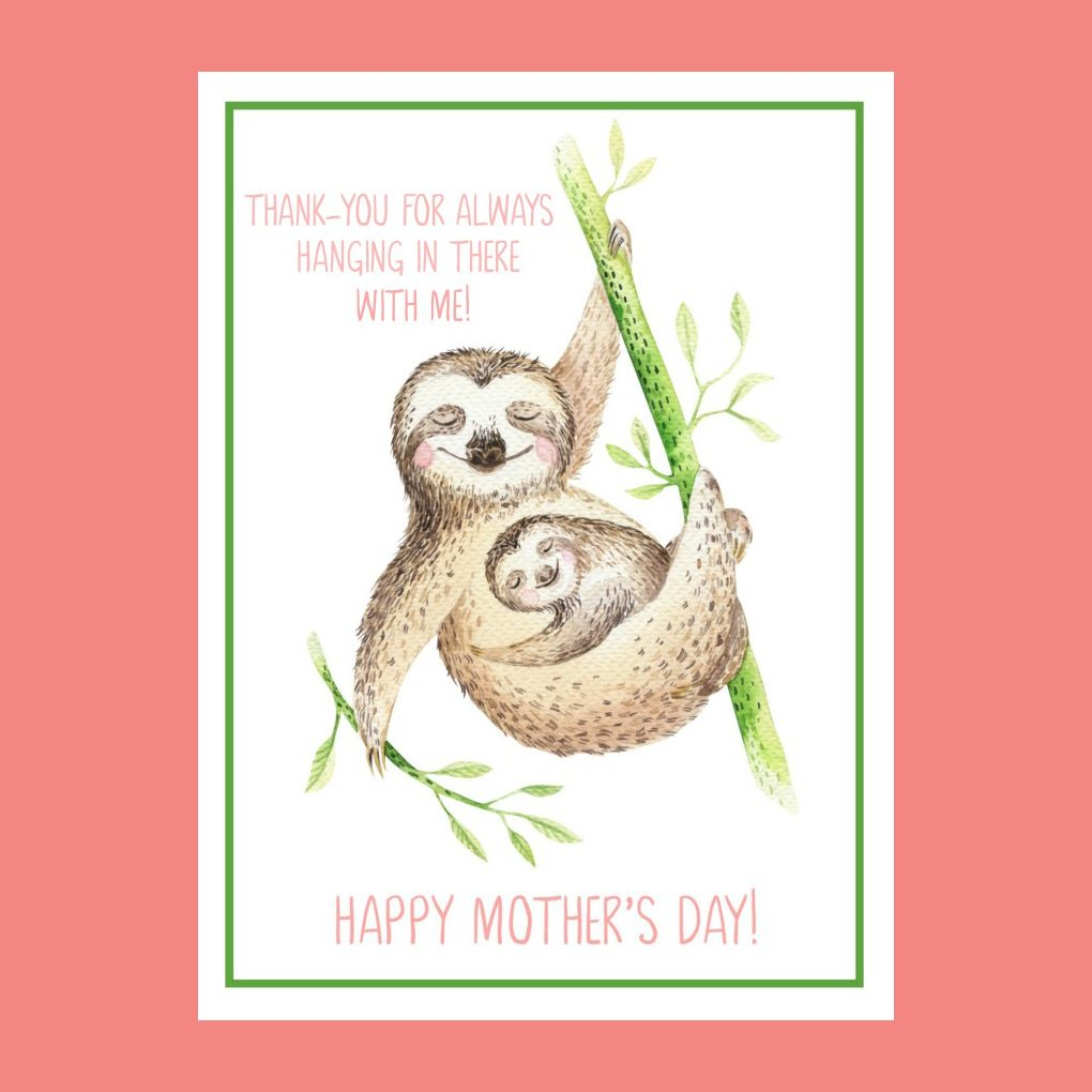 printable sloth mothers day card