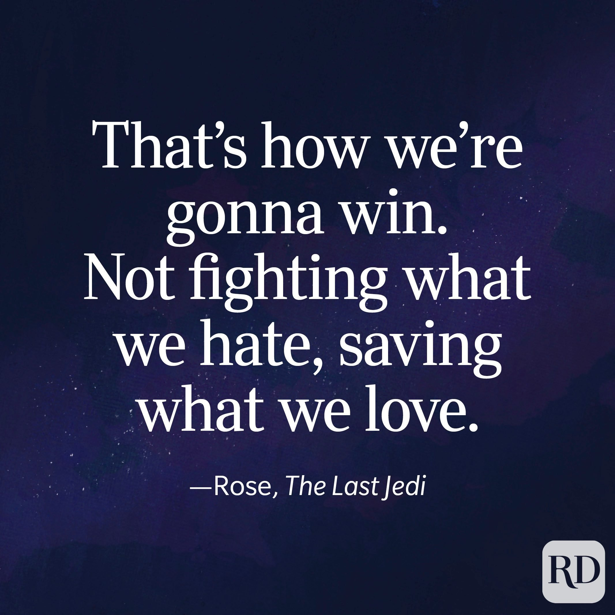 """""""That's how we're gonna win. Not fighting what we hate, saving what we love."""" —Rose, The Last Jedi"""