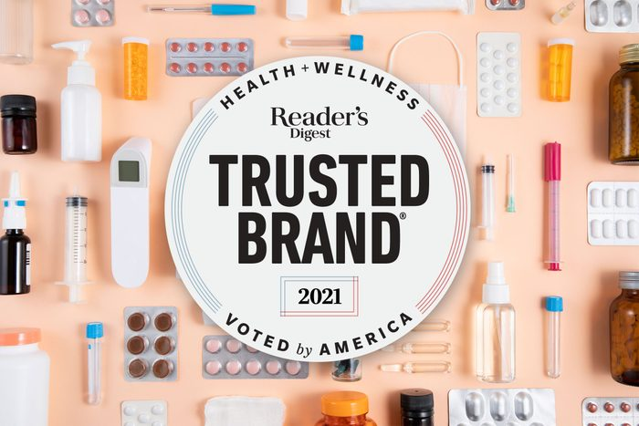 health and wellness products on peach background with 2021 Trusted Brands logo