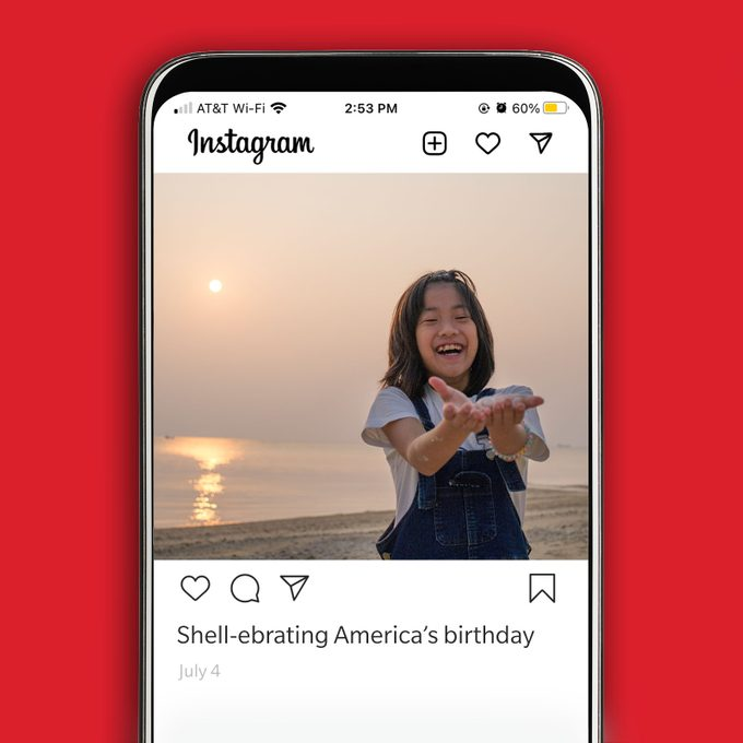 Instagram image of girl holding shells on the beach