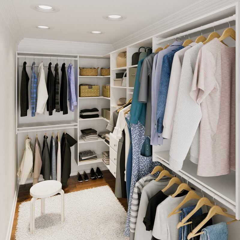 Dotted Line Grid Closet System Walk-In Sets