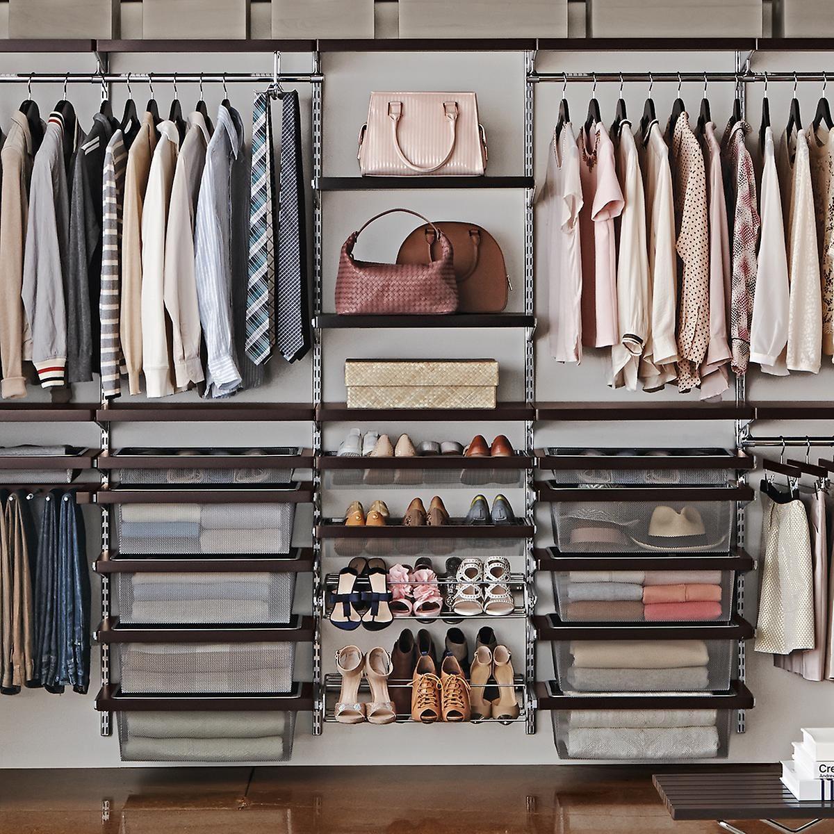 Elfa Decor 10ft Walnut & Platinum His & Hers Closet Wall