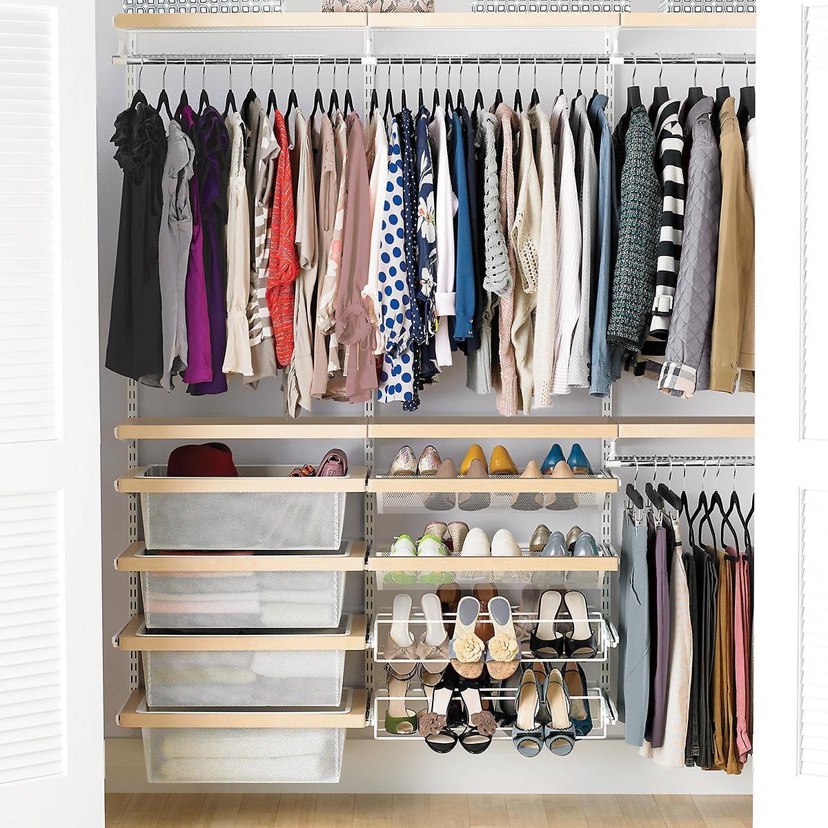 Elfa Decor 6ft Birch And White Reach In Clothes Closet