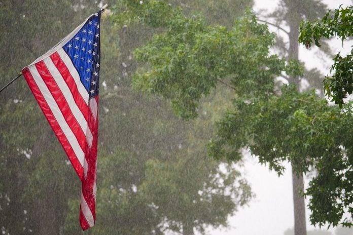 United States Flag in Rain Storm