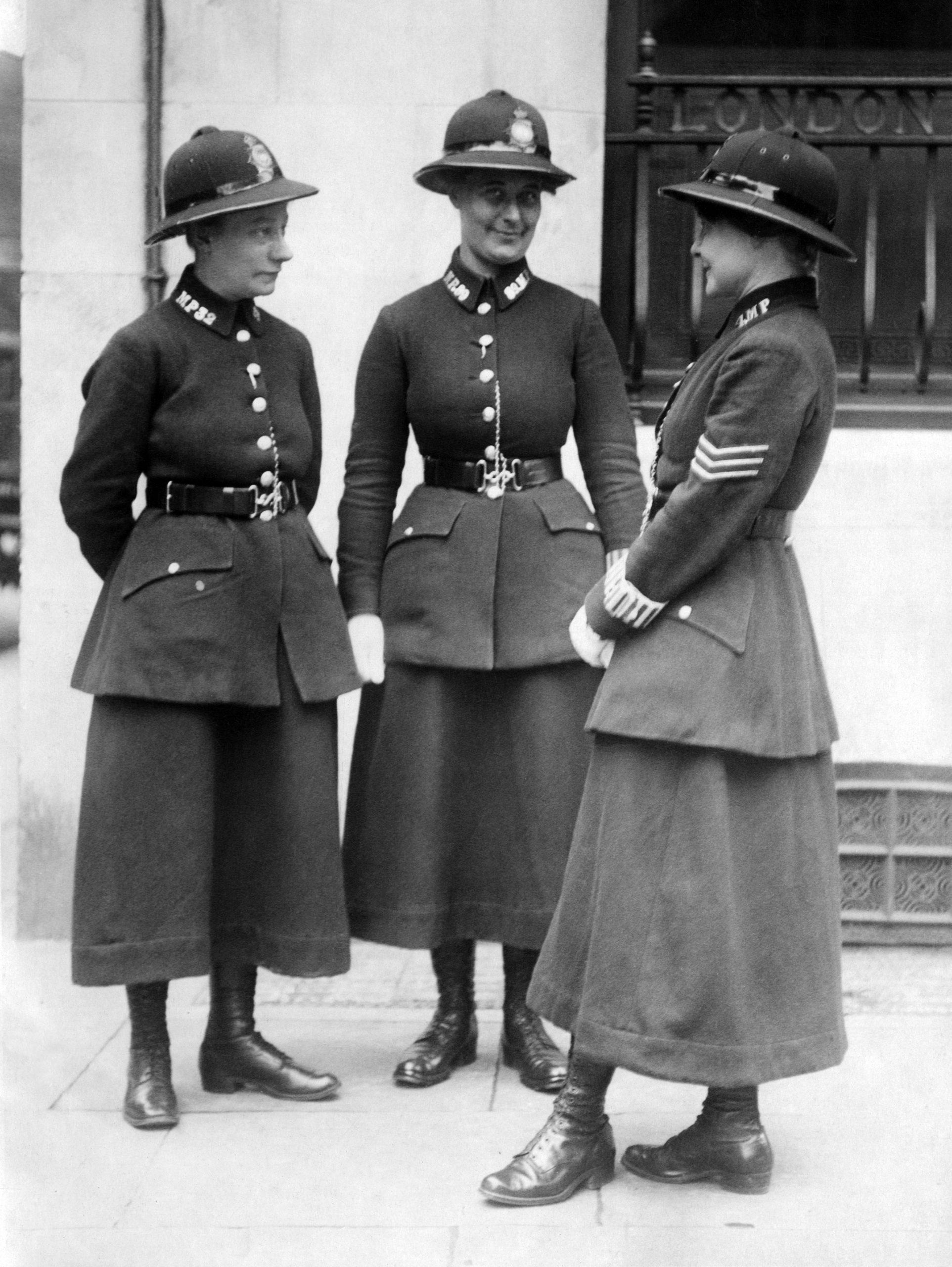 Three police women on duty in London.