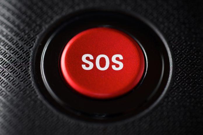 SOS button close up