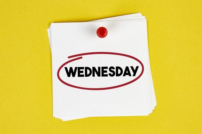 Mark Wednesday on the calendar on yellow background