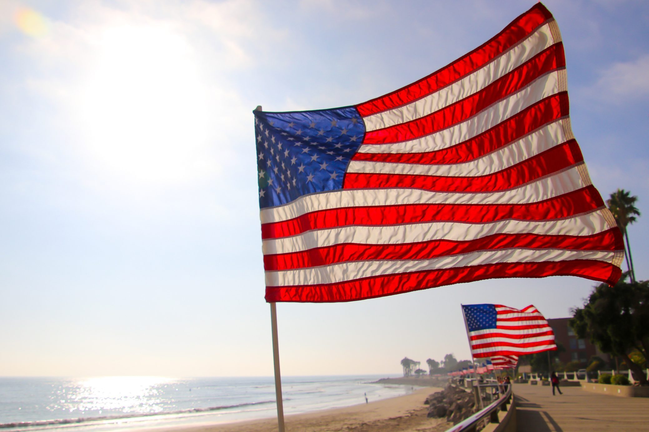 U.S. Flags on the Beach