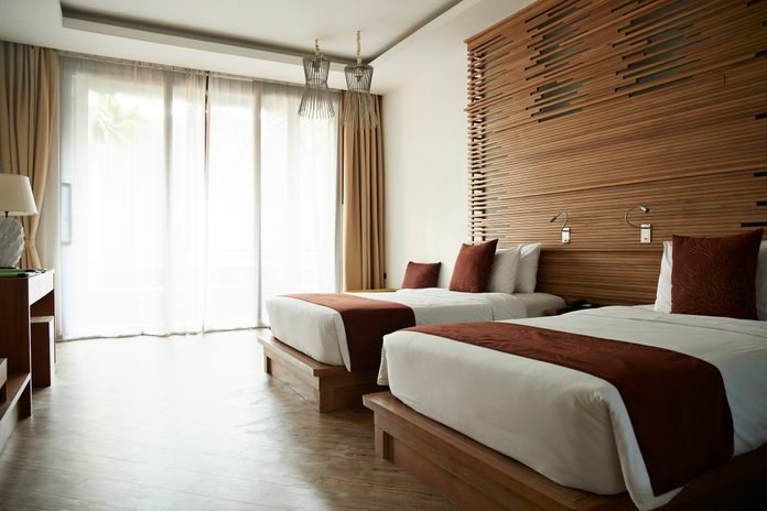 Beds in hotel room at tourist resort