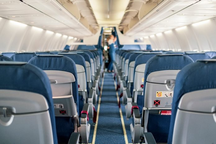 Empty Airplane Cabin Interior