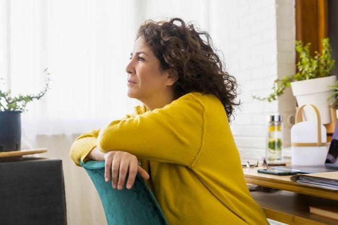 woman having considering her finances