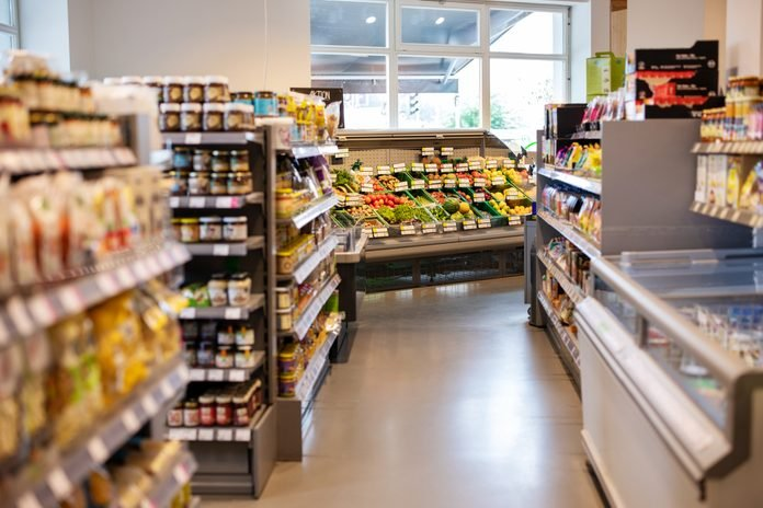 Grocery store with variety of products on shelves