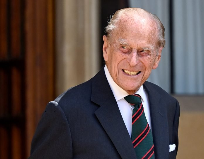 Prince Philip, Duke of Edinburgh (wearing the regimental tie of The Rifles) attends a ceremony to mark the transfer of the Colonel-in-Chief of The Rifles from him to Camilla, Duchess of Cornwall at Windsor Castle on July 22, 2020 in Windsor, England.