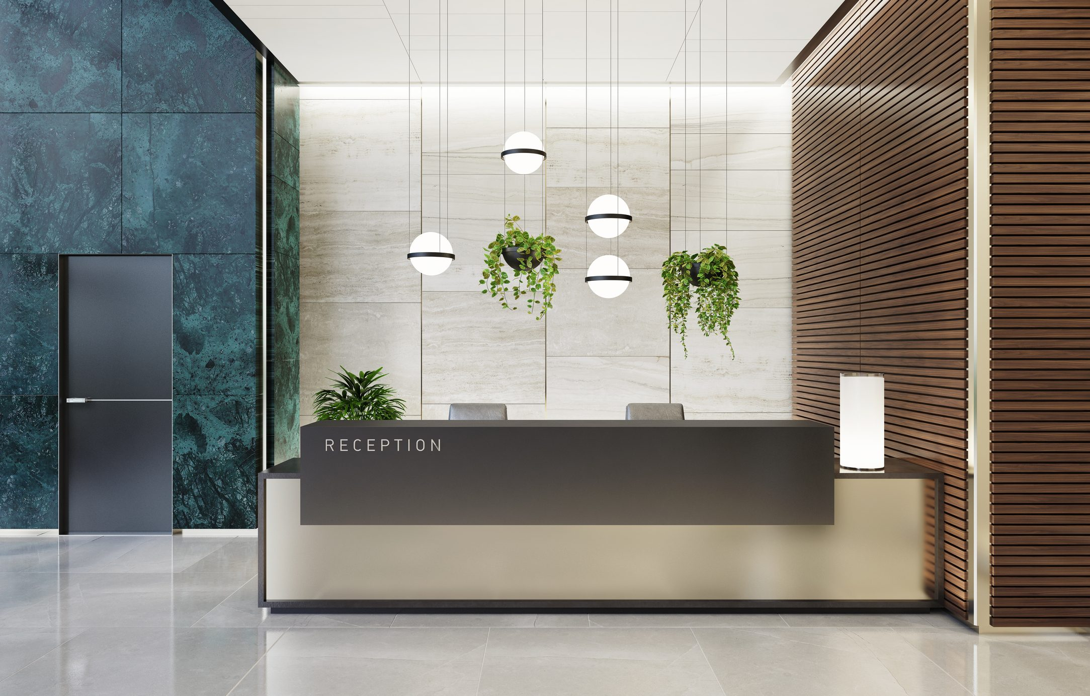 Modern Offices lobby interior area with elevators and stairs and with long reception desk
