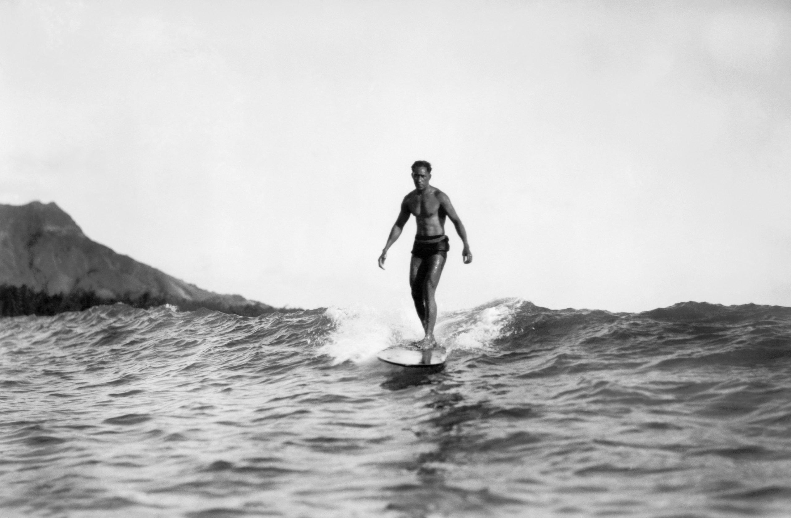 Possibly Duke Kahanamoku Surfing At Waikiki Beach
