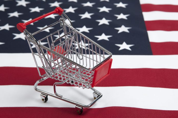 Consumerism: Shopping Cart with American Flag