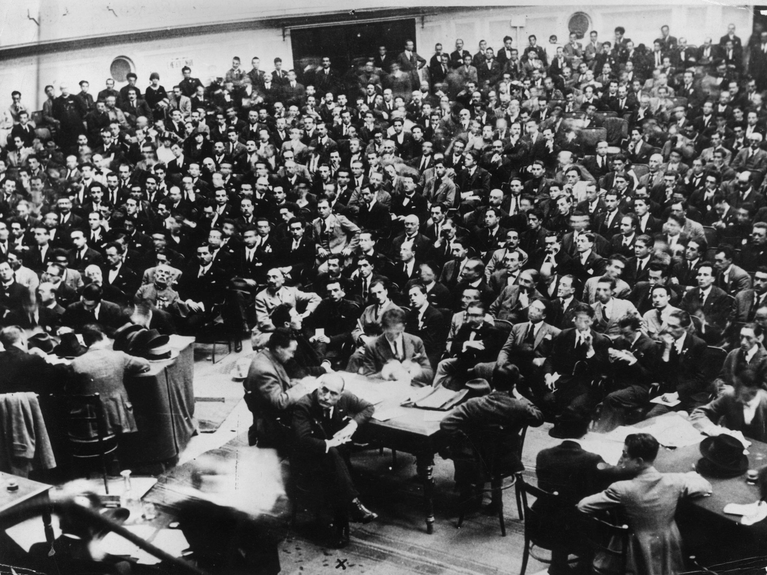 Italian dictator Benito Mussolini attends a fascist conference