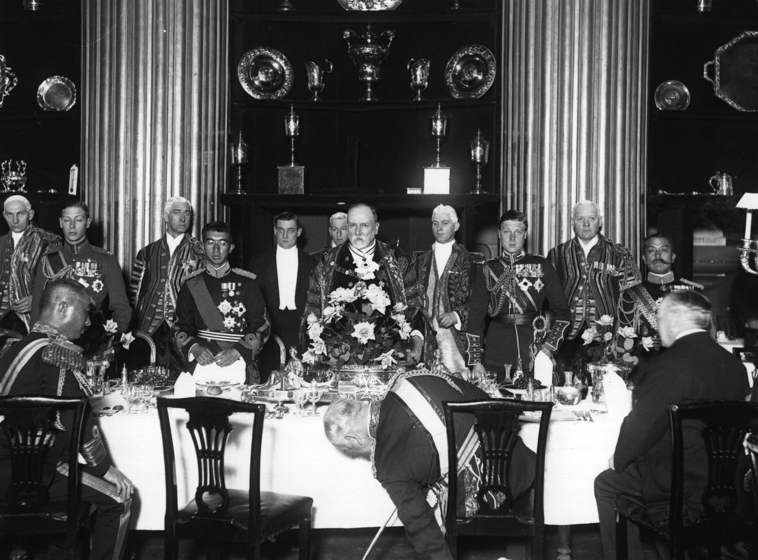 Prince Hirohito lunching at the Mansion House, London, with Edward VIII