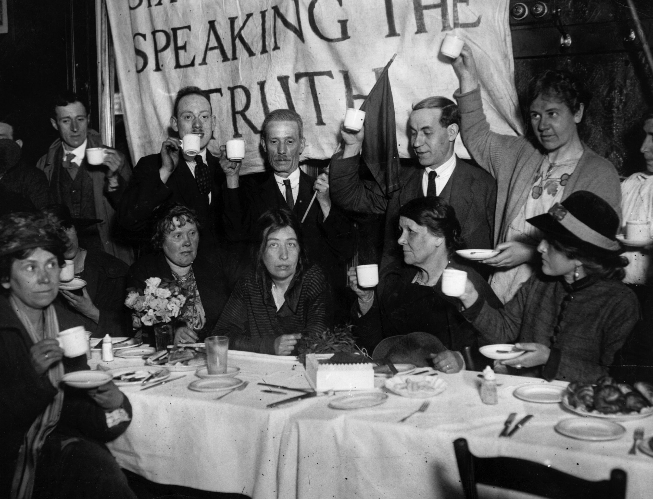 Sylvia Pankhurst being toasted at a breakfast celebrating her most recent release from prison