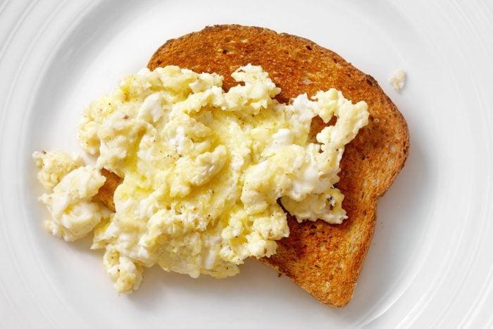 Fluffy, Scrambled Eggs on Toast