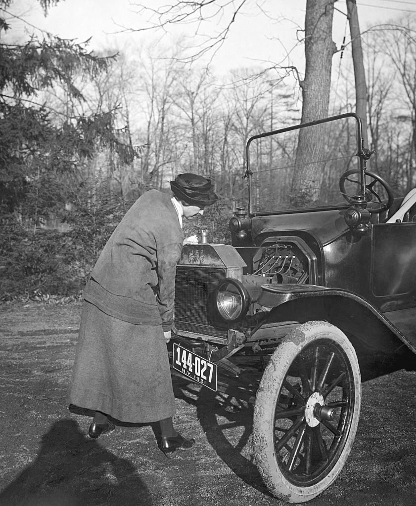 Lady Driver Cranking Her Car 1921