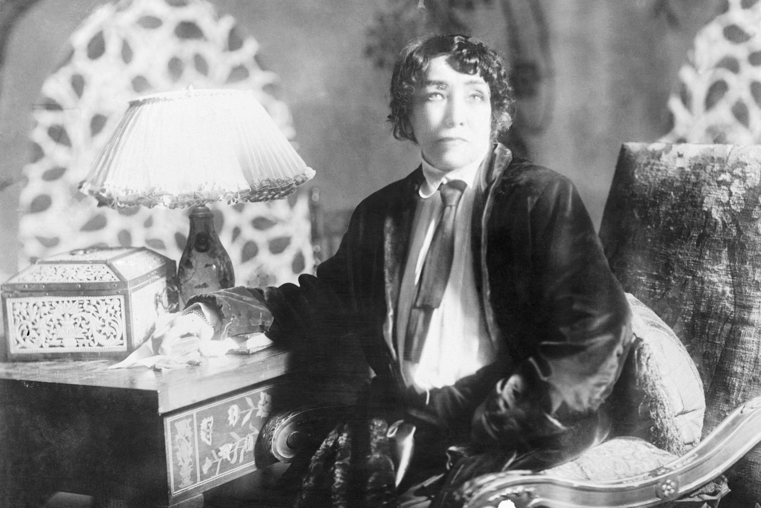 Actress Sarah Bernhardt in her dressing room