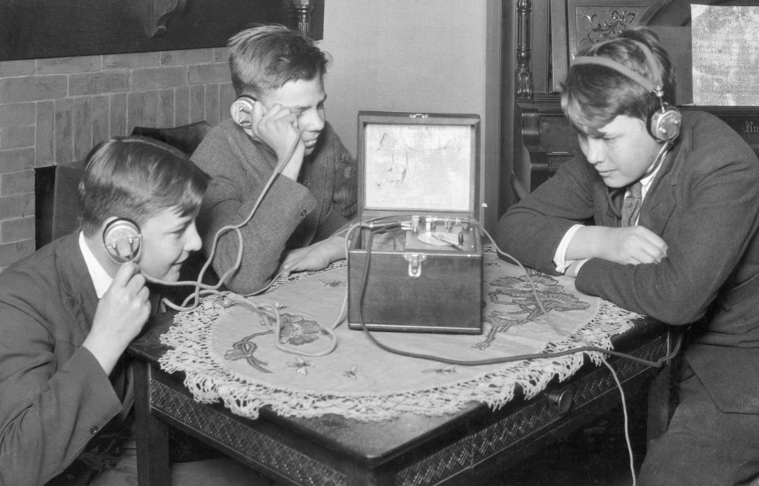 Boys Listen To Early Radio