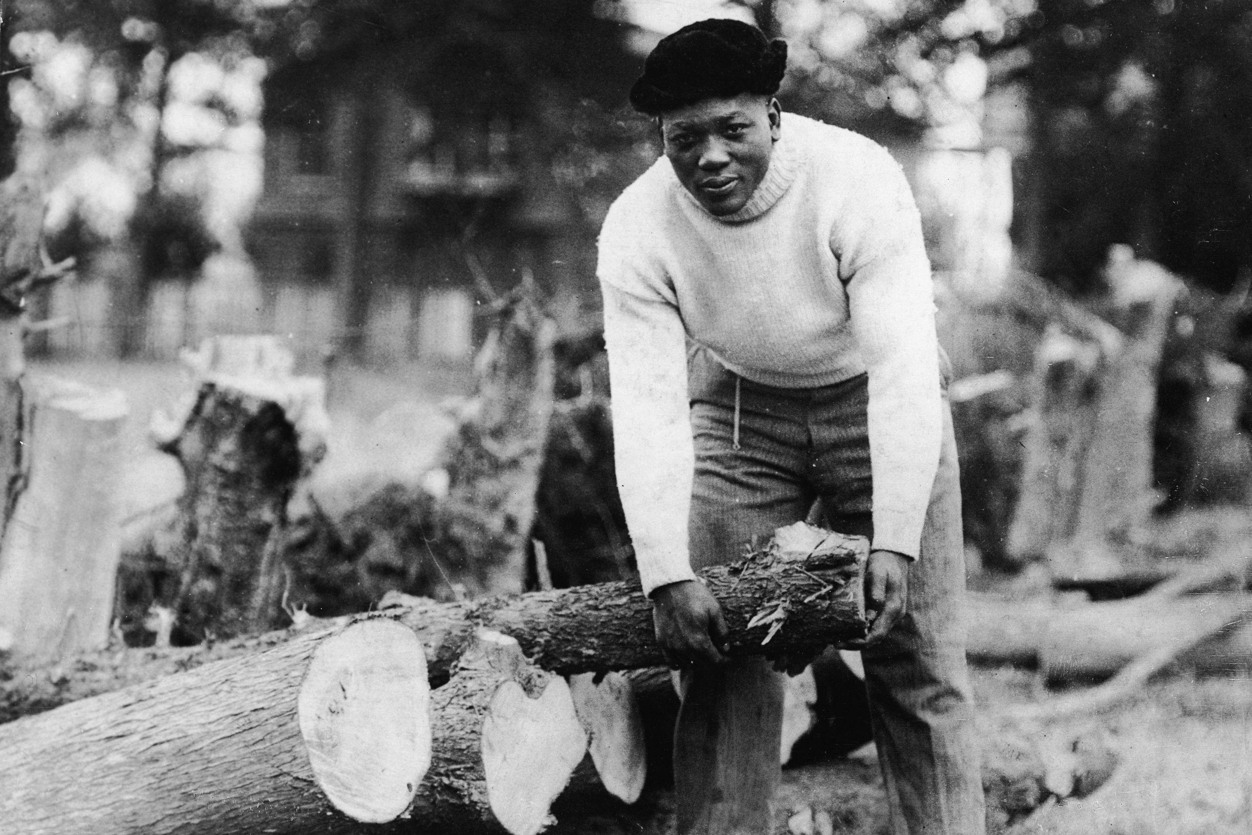 Boxer, Jack Johnson, Picks Up Log